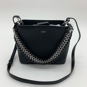 DKNY Bethune Small Black Leather Bucket Handbag